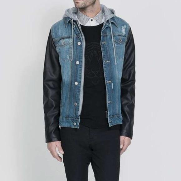 4011970ea8c ... Denim Jacket Faux Leather hoodie. M 5a58343cb7f72b48759fc717